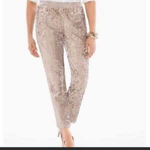Chico's NWT taupe tapered ankle sequin pants 14